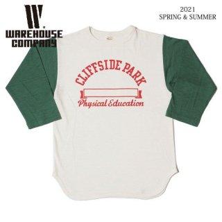 [予約商品]ウエアハウス 4800 7分袖ベースボールTシャツ CLIFFSIDE PARK WAREHOUSE[納期未定][2021年春夏新作 ]