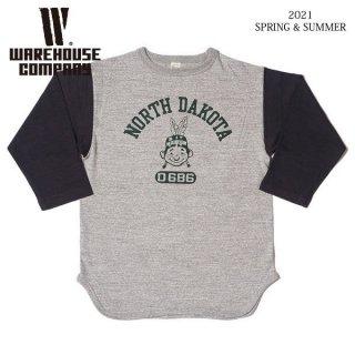 [予約商品]ウエアハウス 4800 7分袖ベースボールTシャツ NORTH DAKOTA WAREHOUSE[納期未定][2021年春夏新作 ]