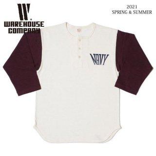 [予約商品]ウエアハウス 4058 7分袖ベースボールTシャツ ヘンリーネック NAVY WAREHOUSE[納期未定][2021年春夏新作 ]