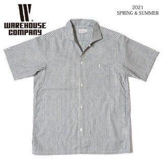 [予約商品]ウエアハウス Lot 3091 S/S OPEN COLLAR SHIRTS ストライプ オープンカラーシャツ WAREHOUSE[納期未定][2021年春夏新作 ]