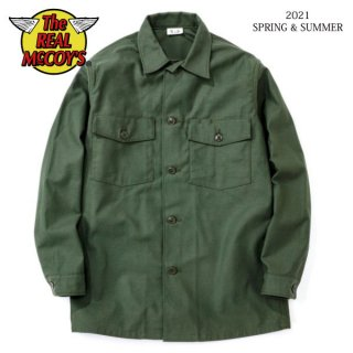 [予約商品]ザ リアルマッコイズ SHIRT, MAN'S, COTTON SATEEN, OLIVE GREEN SHADE 107 MS21004 THE REAL McCOY'S