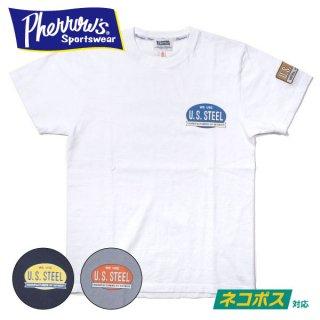 [ネコポス送料200円]フェローズ U.S.STEEL ワッペン付き プリントT Tシャツ PRINT T-SHIRTS 21S-PT3 PHERROW'S