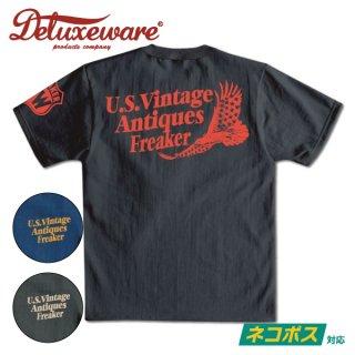 [ネコポス送料200円]デラックスウエア プリント Tシャツ 半袖 U.S.VINTAGE DLT-2102 DELUXEWARE