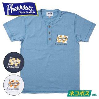[ネコポス送料200円]フェローズ ヘンリーネック プリント Tシャツ SATURDAY RACING 21S-PHNT-P1 PHERROWS