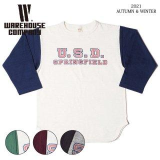 ウエアハウス Lot 4800 7分袖ベースボールTシャツ U.S.D. WAREHOUSE[2021年秋冬入荷分][2021年秋冬新作]