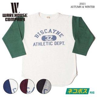 [ネコポス送料200円]ウエアハウス Lot 4800 7分袖ベースボールTシャツ BISCAYNE WAREHOUSE[2021年秋冬新作]