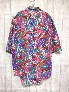 総柄半袖ボタンシャツ オーバーサイズシャツ/L ピンク系 USA製