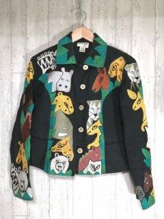 anage アニマル刺繍ジャケット M 黒 動物モチーフ