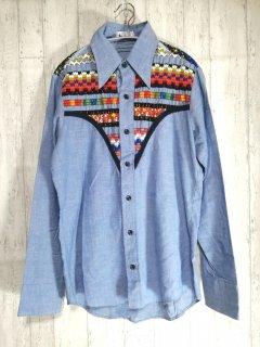 h.i.s 刺繍長袖シャツ USA製 サックスブルー M カラフル