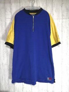 CHAPS RALPH LAUREN ハーフジップTシャツ L ラグラン ブルー イエロー