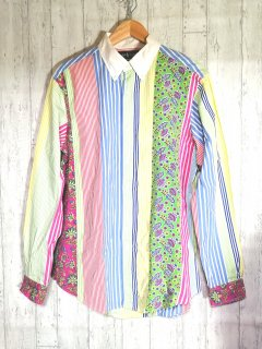 Ralph Lauren ボタンダウン 長袖シャツ M クレイジーパターン マルチカラー 柄シャツ