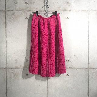 Vitos 花柄 プリーツスカート フランス製 ピンク L