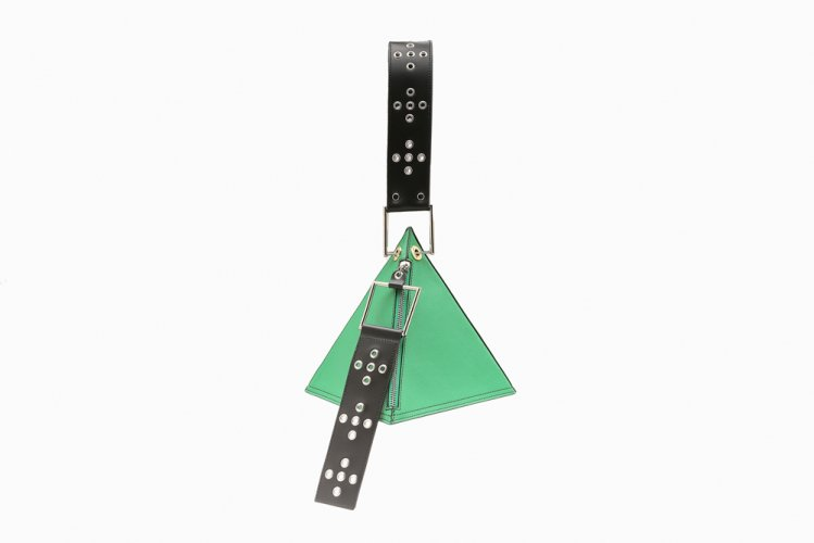 【40% OFF】EYELETED TRIANGLE HANDBAG GREEN