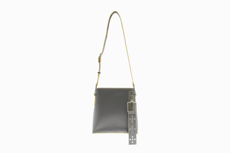 【40% OFF】MIDIUM EYELETED SHOULDER BAG GREY