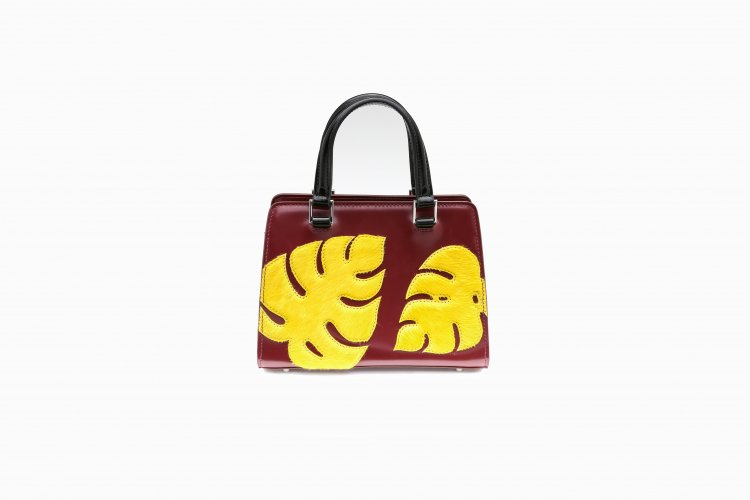 【40% OFF】MONSTERA PATCHED HANDBAG BURGANDY × YELLOW