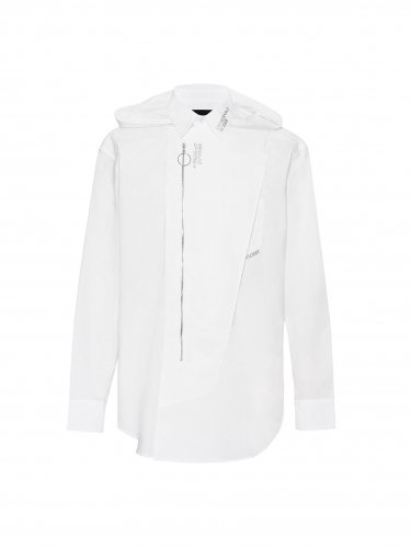 DETACHABLE HOODED SHIRT WHITE