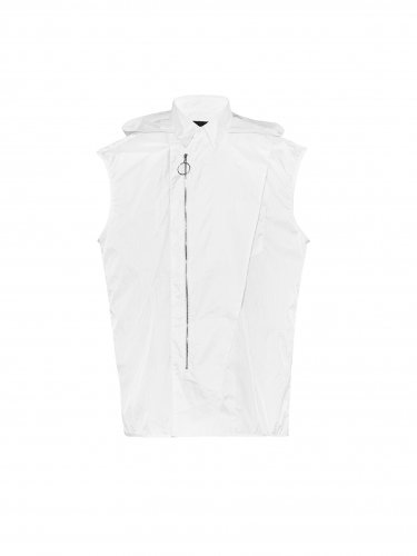 SLEEVELESS DETACHABLE HOODIE SHIRT WHITE