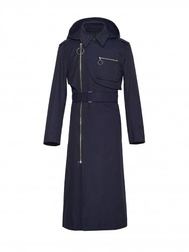DETACHABLE HOODED TRENCH COAT NAVY