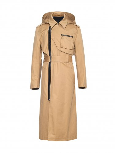 DETACHABLE HOODED TRENCH COAT BEIGE