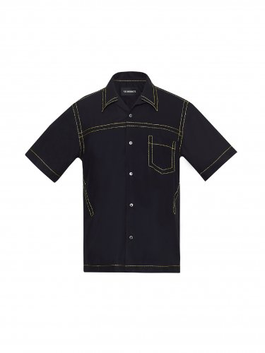 CONTRAST STICH SHORTSLEEVE SHIRT BLACK