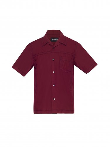 CONTRAST STICH SHORTSLEEVE SHIRT BURGANDY