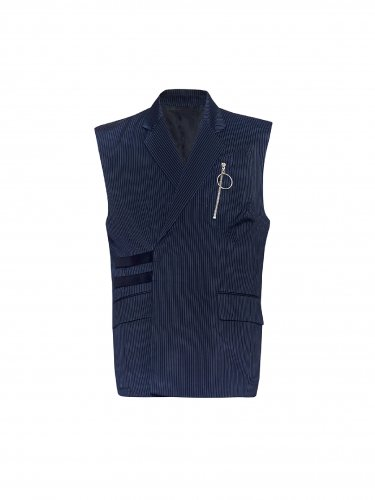3D POCKET SLEEVELESS JACKET NAVY