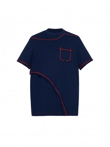CONTRAST LAYERED T-SHIRT NAVY