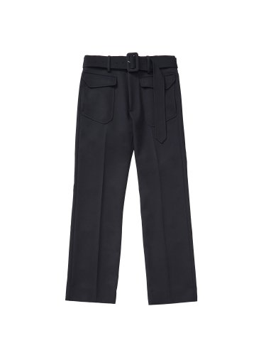 BELTED STANDARD TROUSERS BLACK