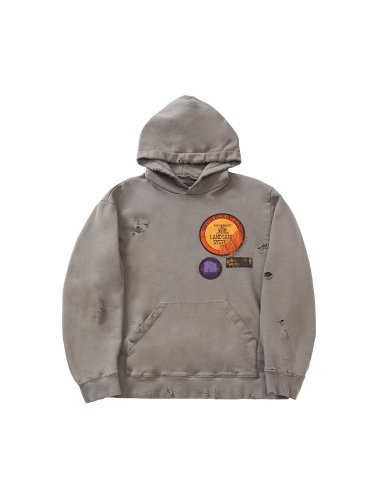 DAMAGE PATCHED HOODIE GRAY