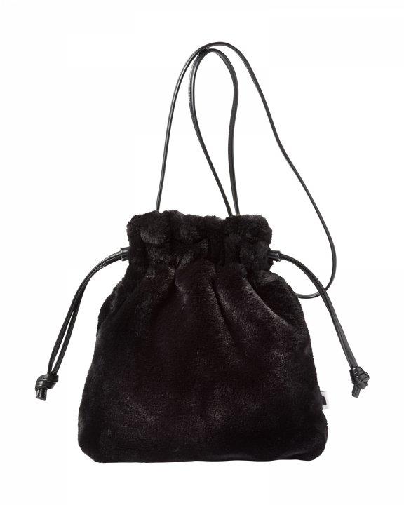 巾着ファーバッグ-BLACK