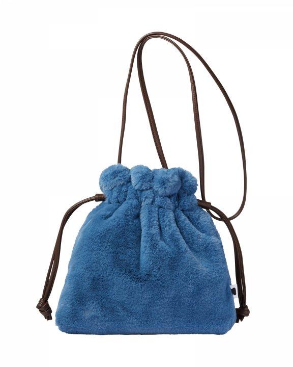 巾着ファーバッグ-BLUE