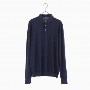 cotton long sleeve polo knit NAVY