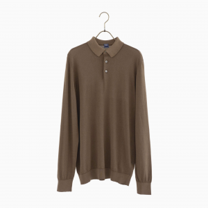 cotton long sleeve polo knit BROWN