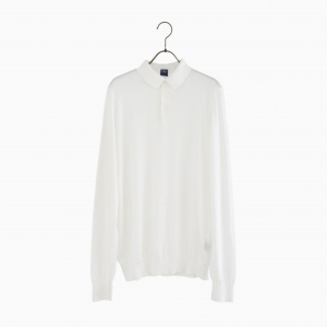 cotton long sleeve polo knit WHITE