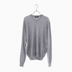 lana140 wool v neck knit GREY