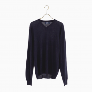 lana140 wool v neck knit NAVY