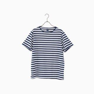 cotton border t-shirt BLUE