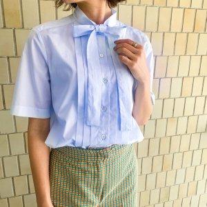 BAGUTTA half sleeve bowtie shirt lightblue