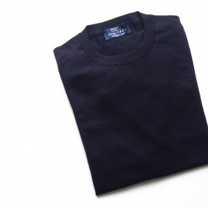 lana140 wool crew neck knit NAVY