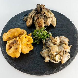炙り3種セット(炙り牡蠣・炙りつぶ・炙りほや)