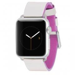 【Apple Watch 用交換バンド】 アップル ウォッチ 6,SE,5,4,3,2,1(38mm/40mm) 用 本革バンド Edged Leather Ivory/Shocking Pink