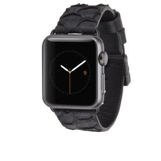 【Apple Watch 用交換バンド】 アップル ウォッチ 6,SE,5,4,3,2,1(38mm/40mm) 用 本革バンド Scaled Croc Leather Ebony