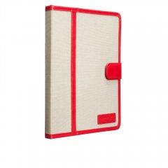 【キャンバス張りのブックスタイルケース】 iPad 2〜4 Trimmed Canvas Pink/White
