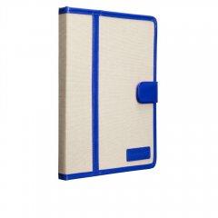 【キャンバス張りのブックスタイルケース】 iPad 2〜4 Trimmed Canvas Marine Blue/White