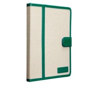 【キャンバス張りのブックスタイルケース】 iPad 2〜4 Trimmed Canvas Emerald/White