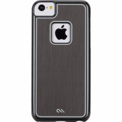 【金属風に背面を加工したケース】 iPhone 5c Brushed Aluminum Effect Sleek Case Silver