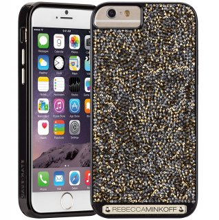 【iPhone6s/6 ケース レベッカ・ミンコフ】 iPhone6s/6 Gold Brilliance Case レベッカ ミンコフ Black Gloss/Gold Crystals