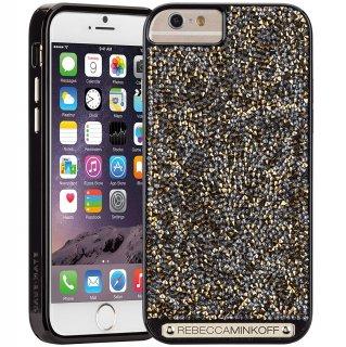 【iPhone6s/6 ケース レベッカ・ミンコフ】 iPhone6s/6 Gold Brilliance Case レベッカ ミンコフ Black Gloss/Gold Crystals