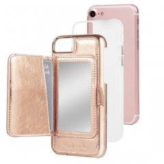 【コンパクトミラー付き 手鏡いらずのiPhoneケース】 iPhone SE(第2世代/2020年発売) / 8/7/6s/6 Compact Mirror Case−Rose Gold