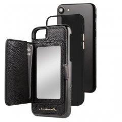 【コンパクトミラー付き 手鏡いらずのiPhoneケース】 iPhone SE(第2世代/2020年発売) / 8/7/6s/6 Compact Mirror Case−Black